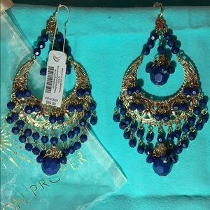 NWT Boston Proper Blue & Gold Dangle Earrings